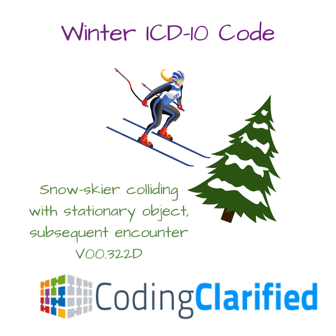 V00.322D snow-skier colliding with stationary object, subsequent encounter